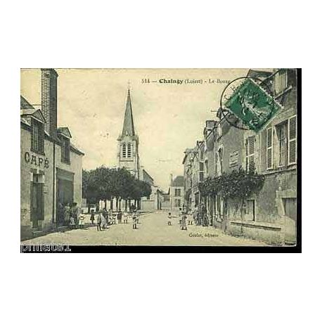 Carte postale 45 - Chaingy - Le bourg - Cafe - Anime