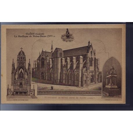 Carte postale 45 - Clery - la Basilique de Notre-Dame XVeme siecle - Non voyage - Dos div...