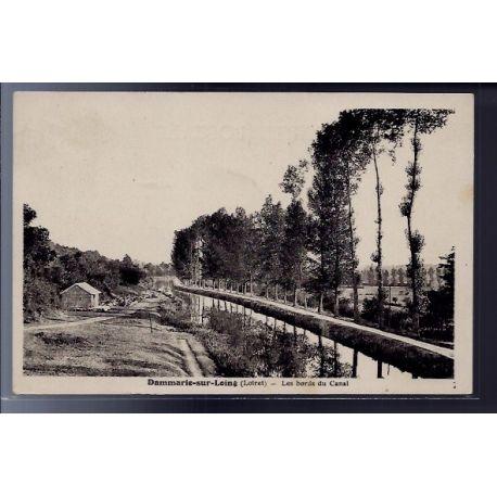Carte postale 45 - Dammarie-sur-Loing - Les bords du Canal - Voyage - Dos divise...