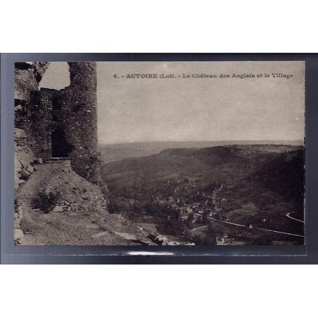 Carte postale 46 - Autoire - le chateau des Anglais et le village - Non voyage - Dos divi...
