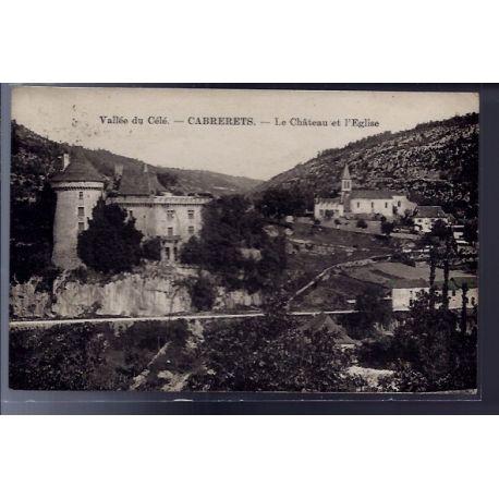 Carte postale 46 - Cabrerets - Vallee du Cele - Le chateau et l' eglise - Voyage - Dos di...