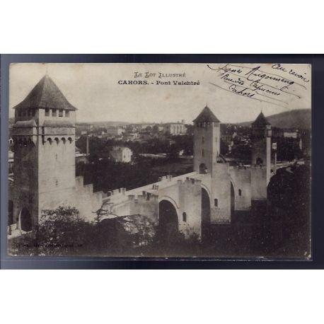 Carte postale 46 - Cahors - Pont Valentre - Voyage - Dos divise...