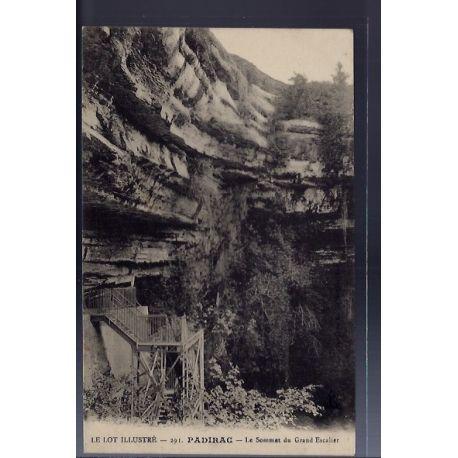 Carte postale 46 - Padirac - Le sommet du Grand escalier - Non voyage - Dos divise...