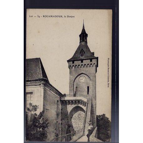 Carte postale 46 - Rocamadour - Le Donjon - Non voyage - Dos divise...
