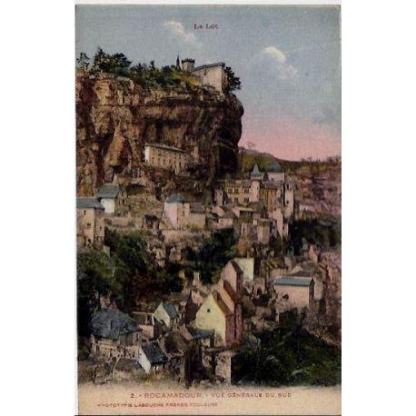Carte postale 46 - Rocamadour - Le lot - Vue generale du Sud - Voyage - Dos divise