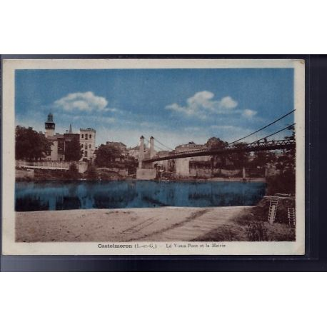 Carte postale 47 - Castelmoron - Le vieux pont et la Mairie - Voyage - Dos divise...