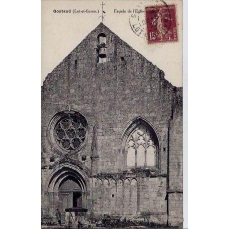 Carte postale 47 - Gontaud - Facade de l'eglise - Voyage - Dos divise