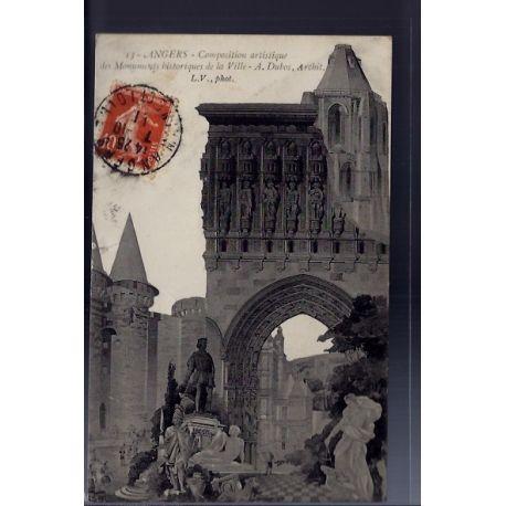 Carte postale 49 - Angers - Composition artistique des Monuments historques de la Ville -...