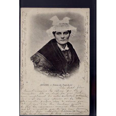 Carte postale 49 - Angers - Femme des ponts-de-ce - Voyage - Dos non divise...