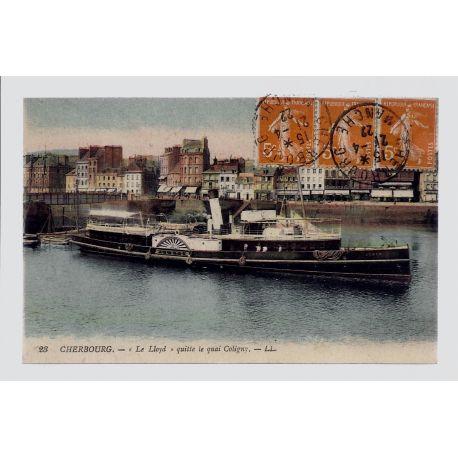 """50 - Cherbourg - \Le Lloyd\"""" - Quitte le quai Coligny - Voyage - Dos divise"""""""""""""""