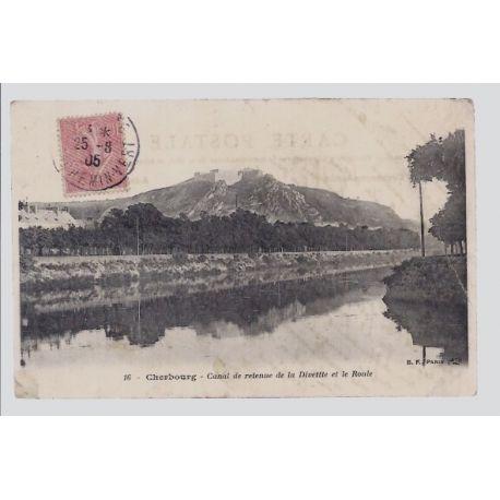 Carte postale 50 - Cherbourg - Canal de retenue de la divette et le roule - Voyage - Dos di
