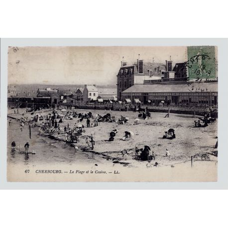 Carte postale 50 - Cherbourg - La plage et le Casino - Voyage - Dos divise