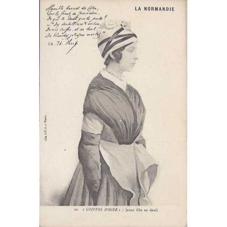 Carte postale 50 - Coiffes d'hier - Jeune fille en deuil