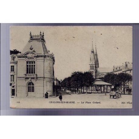 Carte postale 51 - Chalons-sur-Marne - La place Godard - Voyage - Dos divise