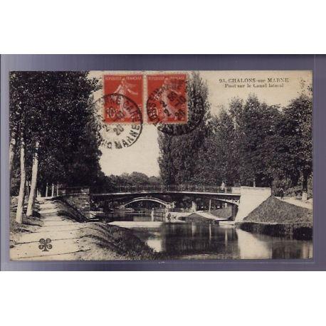 Carte postale 51 - Chalons-sur-Marne - Pont sur le Canal Lateral - Voyage - Dos divise