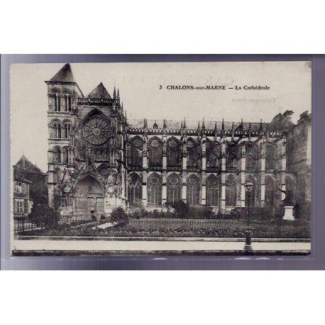 Carte postale 51 - Chalon-sur-Marne - La Cathedrale - Voyage - Dos divise