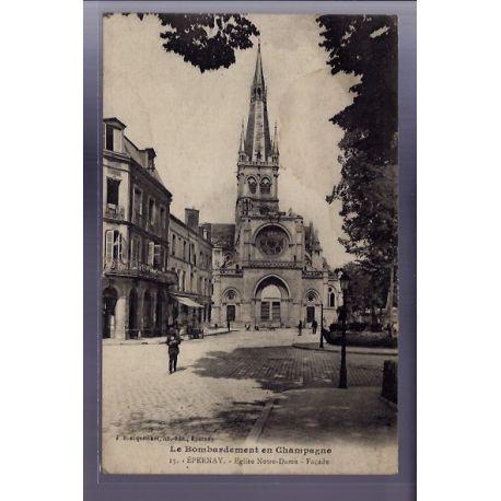 Carte postale 51 - Epernay - Eglise Notre-Dame - Facade - Voyage - Dos divise