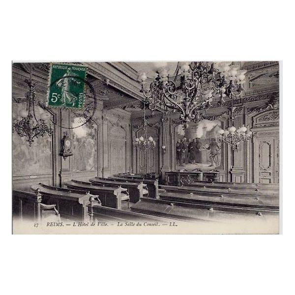 Carte postale 51 reims hotel de ville la salle du for Ville du 51