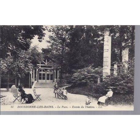 Carte postale 52 - Bourbonne - Le parc - Entree du theatre