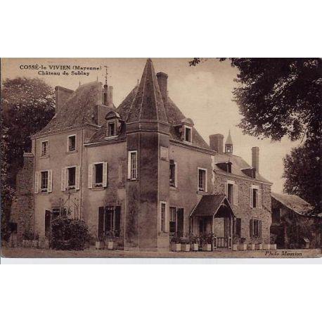 Carte postale 53 - Cosse-le Vivien - Chateau de Sublay -Voyage - Dos divise
