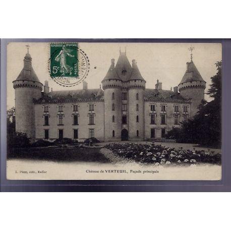 Carte postale 53 - Verteuil - le chateau - facade principale - Voyage - Dos divise