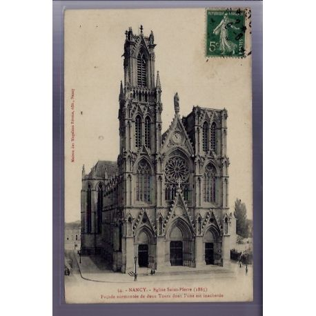 Carte postale 54 - Nancy - Eglise Saint-Pierre - Facade surmontee de deux tours dont l'une