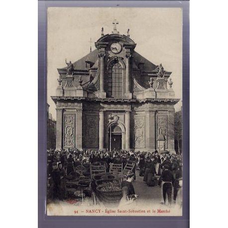 54 - Nancy - Eglise Saint-Sebastien et le marche - Voyage - Dos divise