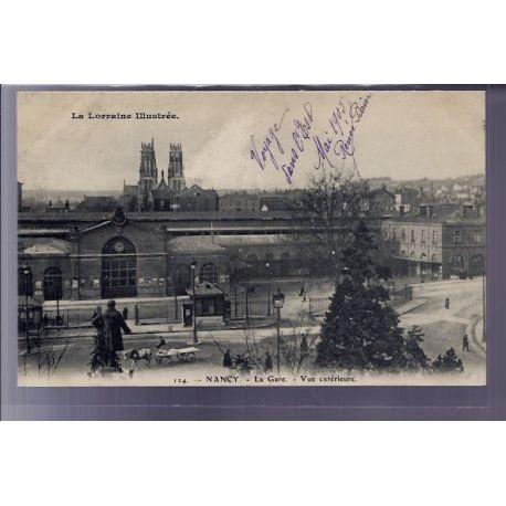 54 - Nancy - La gare - vue exterieure - Non voyage - Dos divise