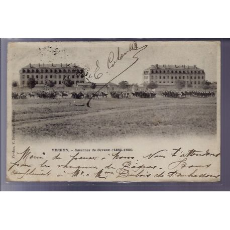 Carte postale 55 - Verdun - Casernes de Bevaux 1884-1886 - Voyage - Dos non divise