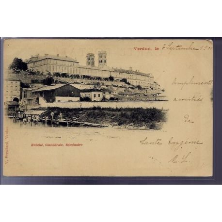 Carte postale 55 - Verdun - Eveche - Cathedrale - seminaire - Voyage - Dos non divise