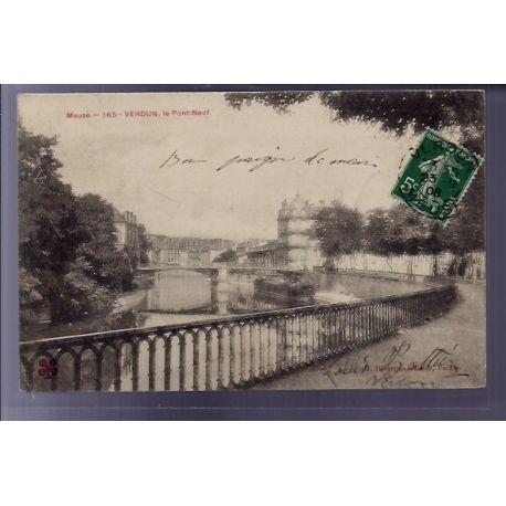 Carte postale 55 - Verdun - Le Pont-Neuf - Voyage - Dos divise