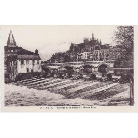 Carte postale 57 - Metz - Barrage de la Pucelle et Moyen pont