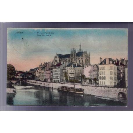 Carte postale 57 - Metz - St-Ludwigsstaden - Quai St-Louis - Voyage - Dos divise