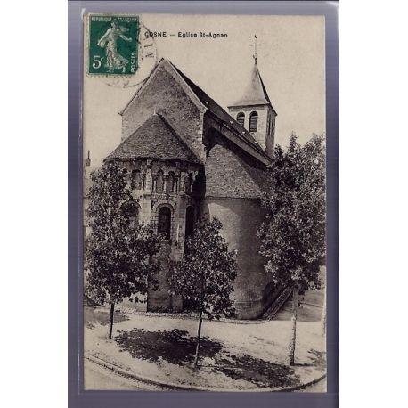 Carte postale 58 - Cosne - Eglise St-Agnan - Voyage - Dos divise