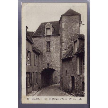 Carte postale 58 - Decize - Porte du Marquis d' Ancre XVe siecle - Voyage - Dos divise