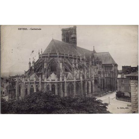 Carte postale 58 - Nevers - Cathedrale - Voyage - Dos divise