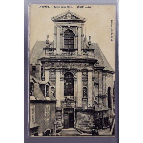 Carte postale 58 - Nevers - Eglise Saint-Pierre XVIIe siecle - Voyage - Dos divise