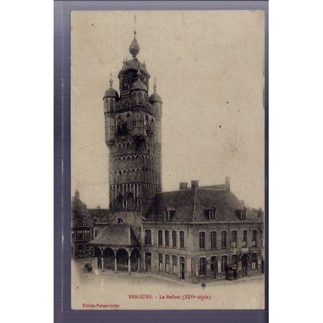 Carte postale 59 - Bergues - Le Beffroi XIVe siecle - Voyage - Dos divise