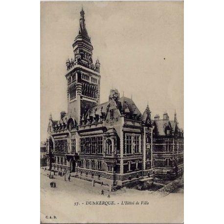 Carte postale 59 - Dunkerque - L'hotel de ville - Voyage - Dos divise