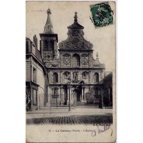 Carte postale 59 - Le Cateau - L'eglise - Voyage - Dos divise