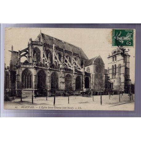 Carte postale 60 - Beauvais - L' eglise Saint-Etienne - cote Nord - Voyage - Dos divise