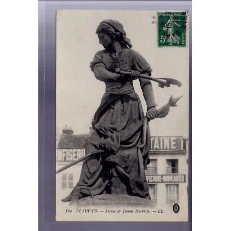 Carte postale 60 - Beauvais - Statue de Jeanne Hachette- Voyage - Dos divise