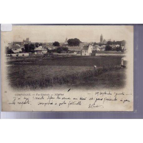Carte postale 60 - Compiegne - Vue generale - Voyage - Dos non divise