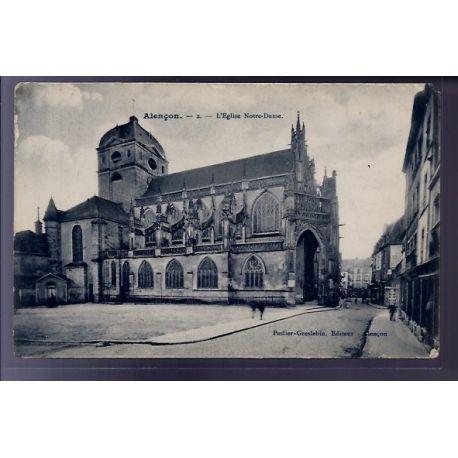 Carte postale 61 - Alencon - L' eglise Notre-Dame - Voyage - Dos divise