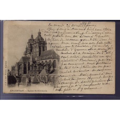 Carte postale 61 - Argentan - Eglise St-Germain - Voyage - Dos non divise