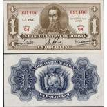 Billet de collection Bolivie Pk N° 128 - 1 Pesos