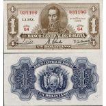 Colección de billetes Bolivia Pick número 128 - 1 Peso 1962