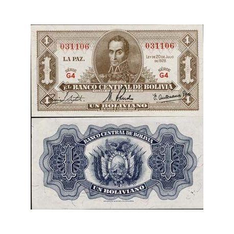 Bolivie - Pk N° 128 - Billet de 1 Pesos