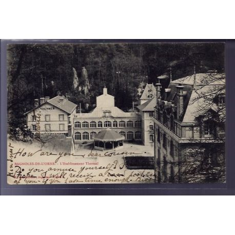 Carte postale 61 - Bagnoles-de-l'Orne - l' etablissement Thermal - Voyage - Dos non divise