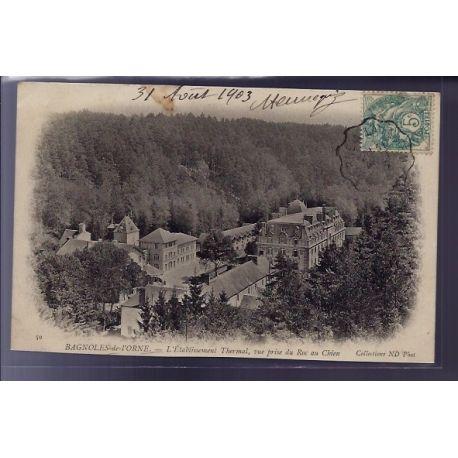 Carte postale 61 - Bagnoles-de-l'Orne - l' etablissement Thermal - vue prise du Roc au chie
